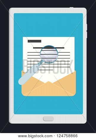 E-mail marketing concept. Computer tablet with hand opening message. Icon for e-mail in flat style, vector illustration.