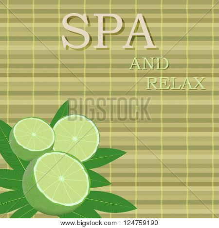 spa leaves and lime in a corner on a bamboo mat background with text