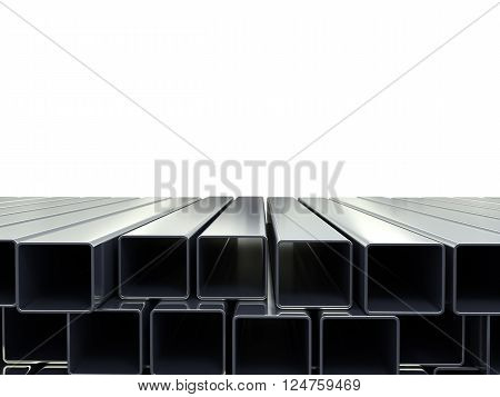 3D Illustration Of A Square Metal Pipes Stacked In A Pile Isolated On White As A Background