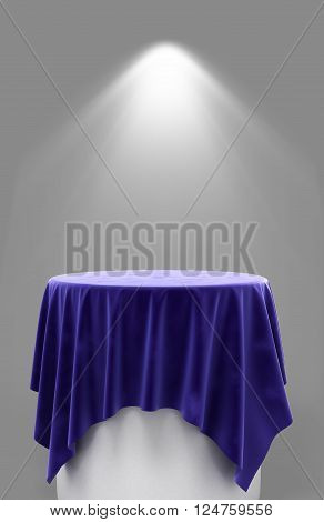 3D Rendering Of Blue Velor Cloth On A Round Pedestal On A Gray Background With Illumination