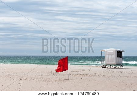 A lifeguard hut at Saint Georges Beach near Port Elizabeth in the Eastern Cape Province of South Africa