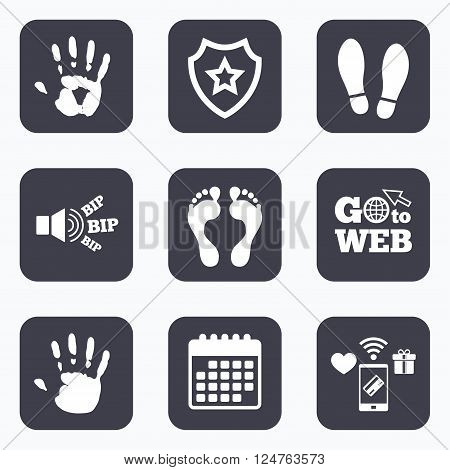 Mobile payments, wifi and calendar icons. Hand and foot print icons. Imprint shoes and barefoot symbols. Stop do not enter sign. Go to web symbol.