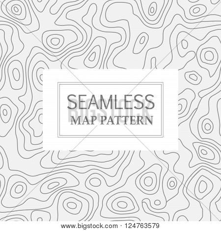 Seamless repeating topographic contour map background, vector illustration