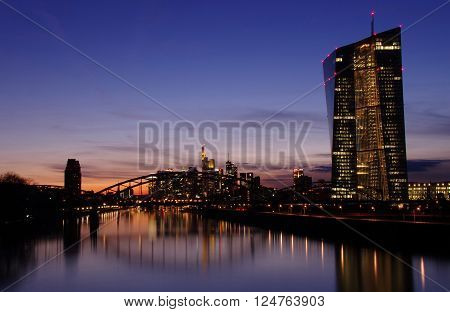 View of Frankfurt am Main skyline during sunset