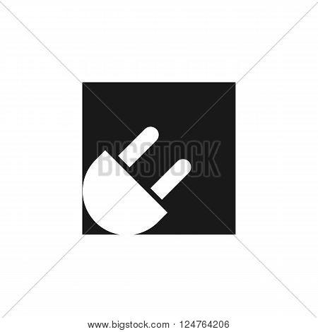 plug electrical network white icon on black isolated background