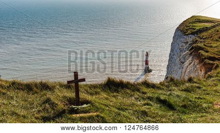 Cross near cliff at Beachy Head, East Sussex
