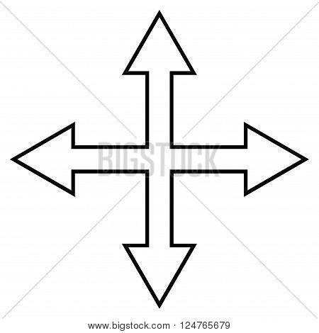 Maximize Arrows vector icon. Style is contour icon symbol, black color, white background.