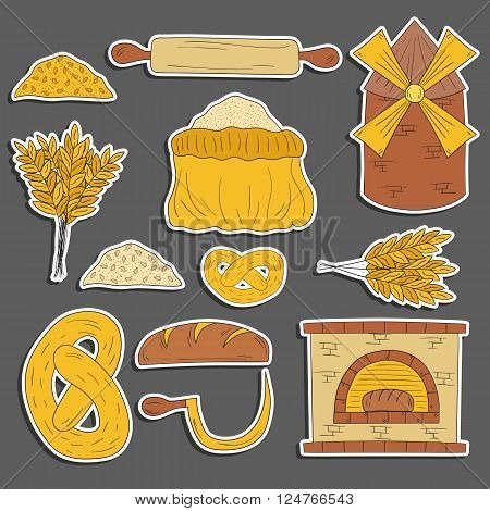 Set of hand drawn cartoon bread harvest objects: loaf flour furnace mill. Bread production. Rural work concept