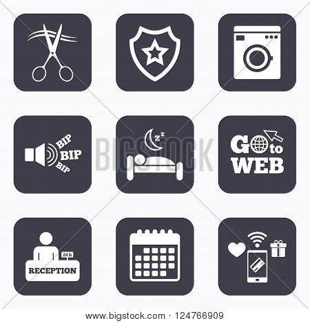 Mobile payments, wifi and calendar icons. Hotel services icons. Washing machine or laundry sign. Hairdresser or barbershop symbol. Reception registration table. Quiet sleep. Go to web symbol.