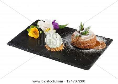 Chocolate lava cake with ice cream isolated on white background