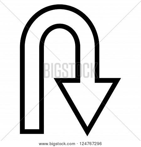U Turn vector icon. Style is thin line icon symbol, black color, white background.