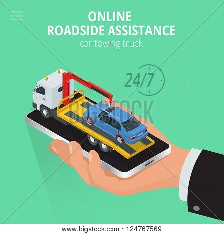 Car towing truck Online, evacuator Online, Online roadside assistance car towing truck, Business and Service Concept, Flat 3d vector isometric illustration