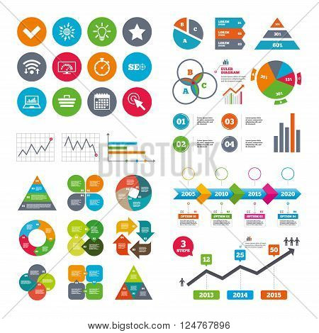 Wifi, calendar and web icons. Internet, seo icons. Bandwidth speed, online shopping and tick signs. Favorite star, notebook chart symbols. Diagram charts design.