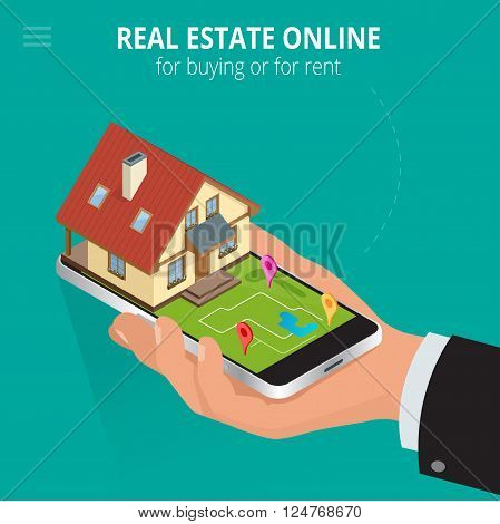 Real estate Online for buying or for rent. Man working with smartphone is looking for a house for buying or for rent, using online searching service. Flat 3d vector isometric illustration