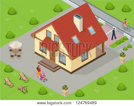 Real estate. Big custom made luxury house with nicely trimmed and landscaped front yard in the suburbs. Flat 3d vector isometric illustration. Flat 3d vector isometric illustration