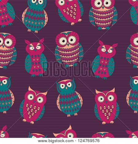Vector colorful seamless pattern with cute different owls. Can be used for scrapbooking, textile design, packaging, greeting cards, background design.