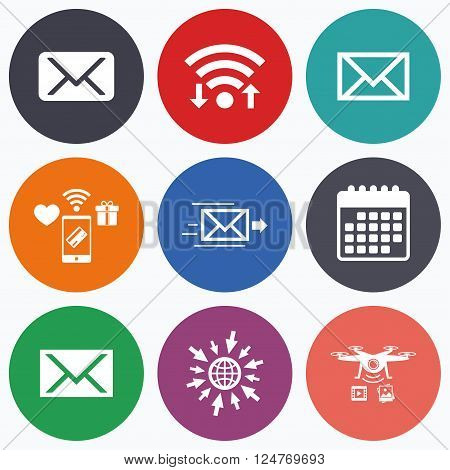Wifi, mobile payments and drones icons. Mail envelope icons. Message delivery symbol. Post office letter signs. Calendar symbol.