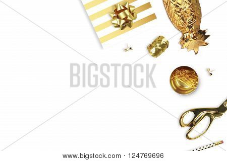 Flat lay. White background mockup. Woman accessories.Gold pineapple gold stapler pencil.Table view.