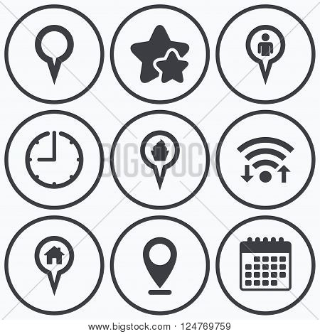 Clock, wifi and stars icons. Map circle pointer icons. Home, food and user location symbols. Restaurant and cupcake signs. You are here. Calendar symbol.