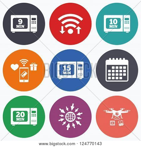 Wifi, mobile payments and drones icons. Microwave oven icons. Cook in electric stove symbols. Heat 9, 10, 15 and 20 minutes signs. Calendar symbol.