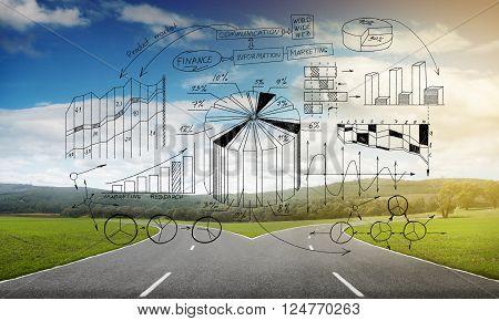 Natural landscape image of forked asphalt road and plan sketches