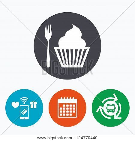 Eat sign icon. Dessert trident fork with muffin. Cutlery symbol. Mobile payments, calendar and wifi icons. Bus shuttle.
