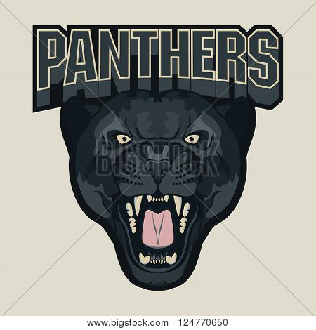 Angry Panther Sport team emblem, wild big cat head. Cute face of Black Cat. Aggressive cat with bared teeth in cartoon style, t-shirt print design