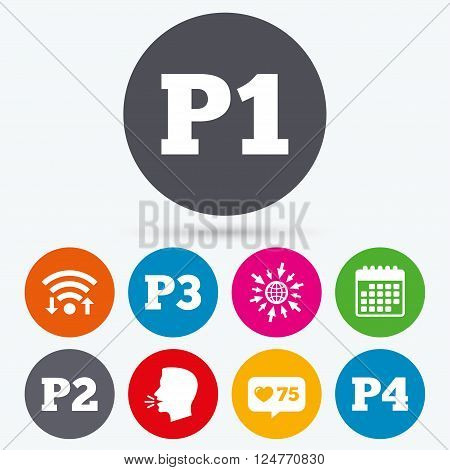 Wifi, like counter and calendar icons. Car parking icons. First, second, third and four floor signs. P1, P2, P3 and P4 symbols. Human talk, go to web.