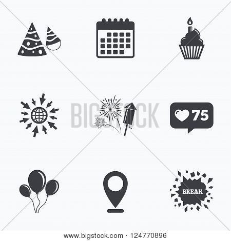 Calendar, like counter and go to web icons. Birthday party icons. Cake, balloon, hat and muffin signs. Fireworks with rocket symbol. Cupcake with candle. Location pointer.