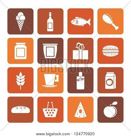 Flat shop, food and drink icons - vector icon set