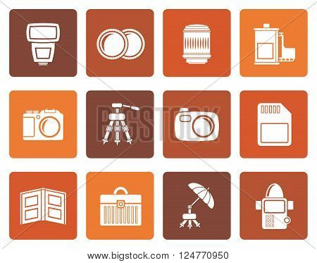 Flat Photography equipment icons - vector icon set