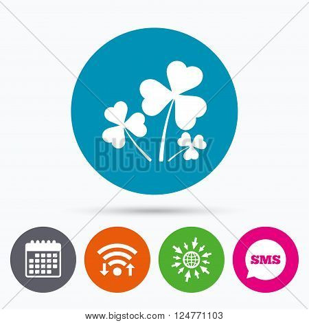 Wifi, Sms and calendar icons. Clovers with three leaves sign icon. Saint Patrick trefoil shamrock symbol. Go to web globe.