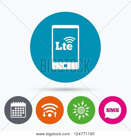 Wifi, Sms and calendar icons. 4G LTE sign in smartphone icon. Long-Term evolution sign. Wireless communication technology symbol. Go to web globe.