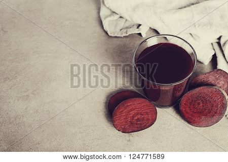 Beetroot juice on the table