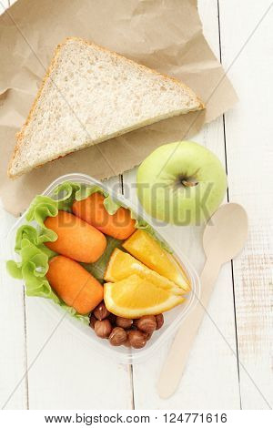 Healthy food. Lunch box on the table