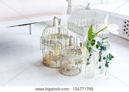 design elements birdcage flowers, white background, studio ** Note: Shallow depth of field