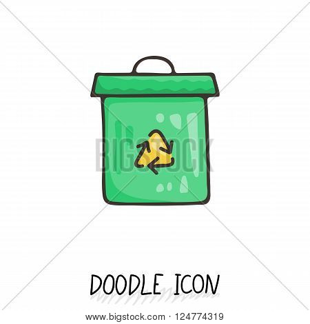 Doodle recycle bin icon. Trash can. Eco pictogram.