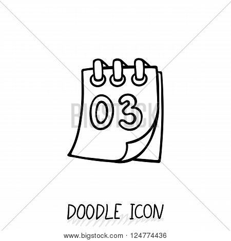 Doodle calendar icon. Vector illustration. Tear-off calendar.