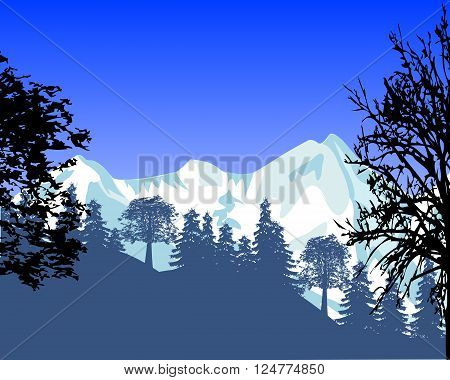 The Beautiful landscape with mountain and wood.Vector illustration