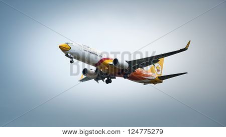 Chiang Mai Thailand - January 27 2016: Nok Air The low-cost carrier in Thailand. It is a domestic flight.