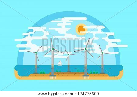 Vector flat illustration. Vector flat landscape wind turbines in the sea. Alternative energy source. On flat ground.