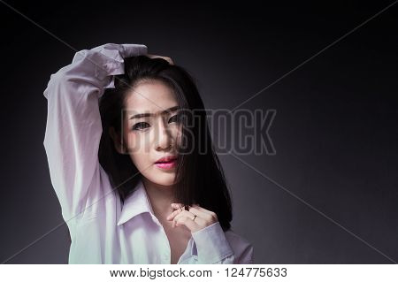 Asian girl of portrait photography, close up