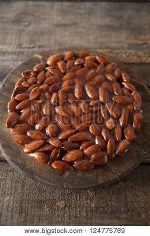 Typical and traditional sweet made from melted sugar and almonds