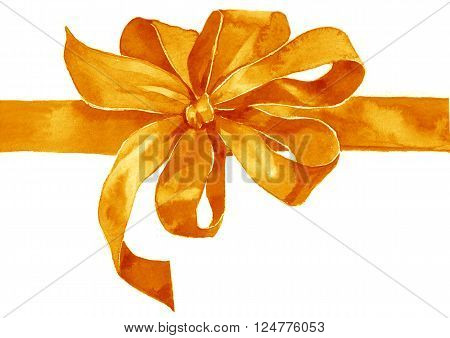Watercolor holiday yellow orange bow on white background