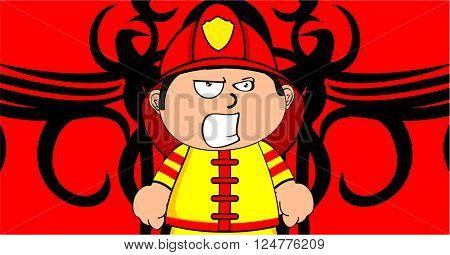 cute young firefighter kid cartoon background in vector format