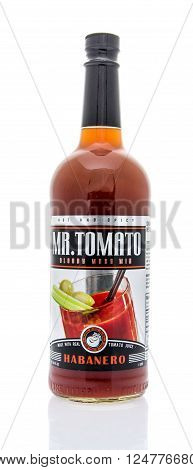 Winneconne WI - 16 March 2016: Bottle of Mr. Tomato bloody mary mix on an isolated background.
