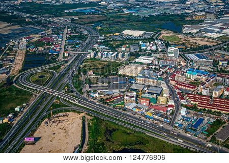 Industrial estate land development in Asia, aerial view