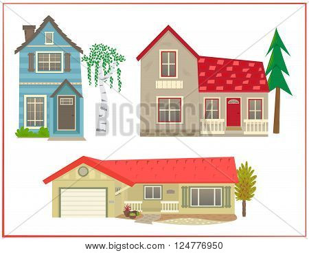 Cartoon set of three different types of homes. Eps10