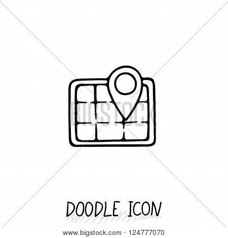 Doodle location icon. Map pictogram. Terrain orientation, gps.