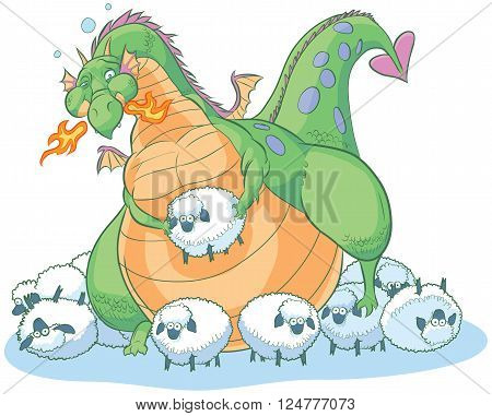 Vector clip art illustration of an overeating fat cartoon dragon too full to eat another bite. He is surrounded by the remaining dim-witted sheep that are too clueless to understand their own peril.